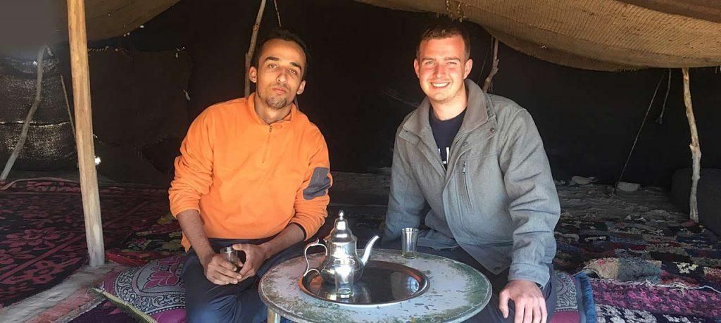John Chappell drinking Bedouin Tea