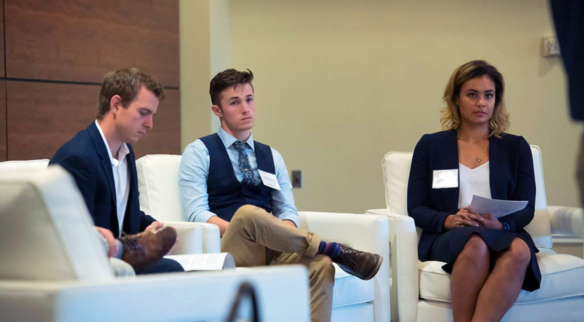 John Chappel (left), Arabic student, participated in the 2018 Tech Summit. Photo by Kevin Bain/Ole Miss Digital Imaging Services.
